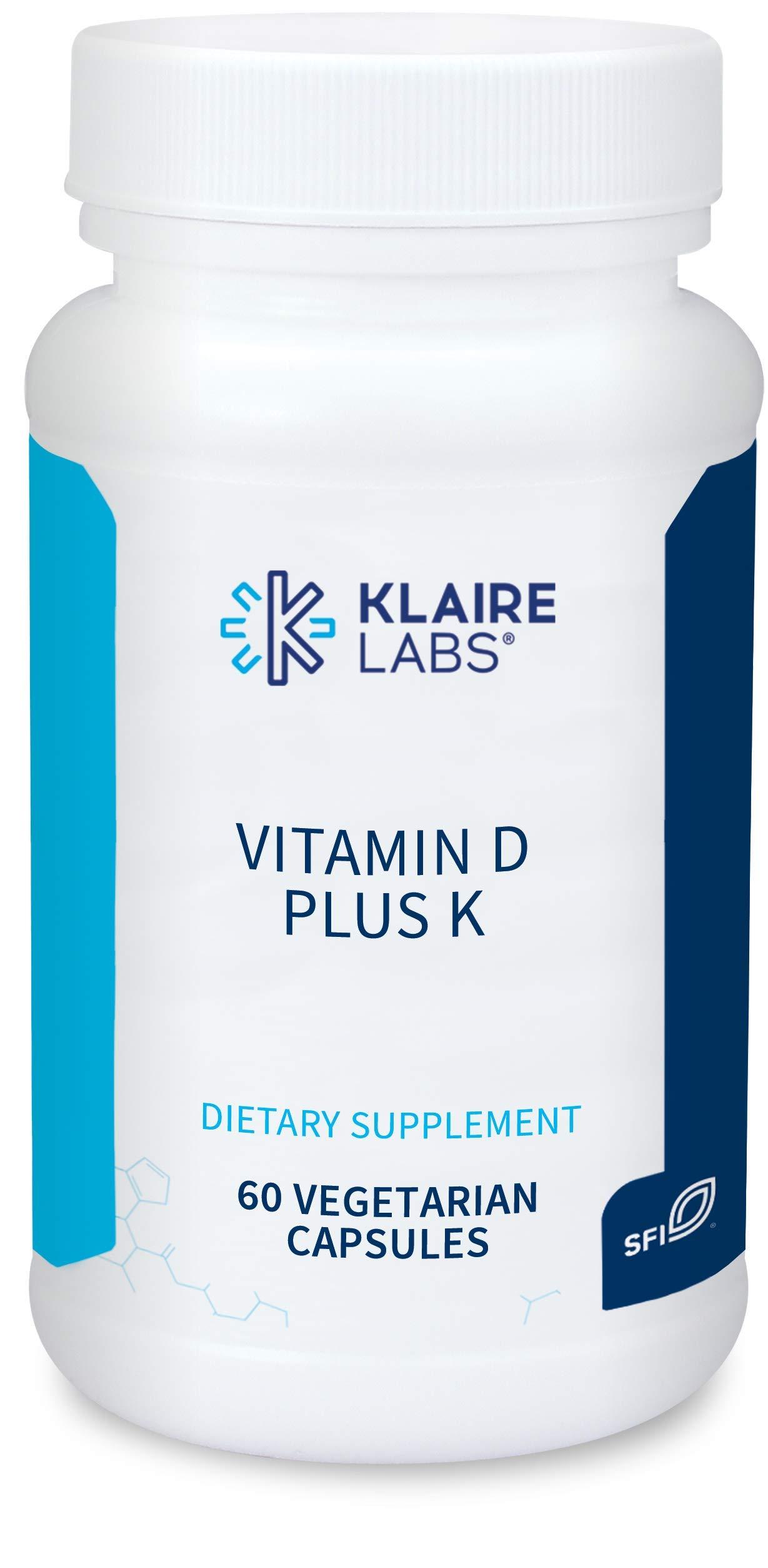 Klaire Labs Vitamin D Plus K - 5000 IU Vitamin D3 with Vitamin K2 MK-7, Bioavailable Formula for Bone, Cardiovascular & Immune Support (60 Capsules)