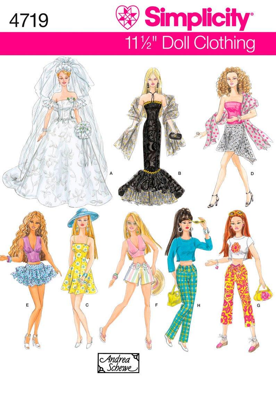 Simplicity 4719 - Patrón de costura para ropa de muñecas (tamaño ...