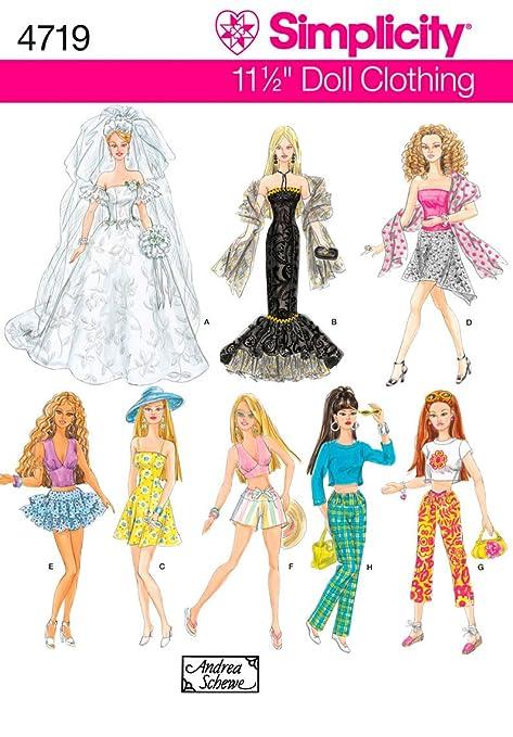 Simplicity 4719 - Patrón de costura para ropa de muñecas (tamaño único)