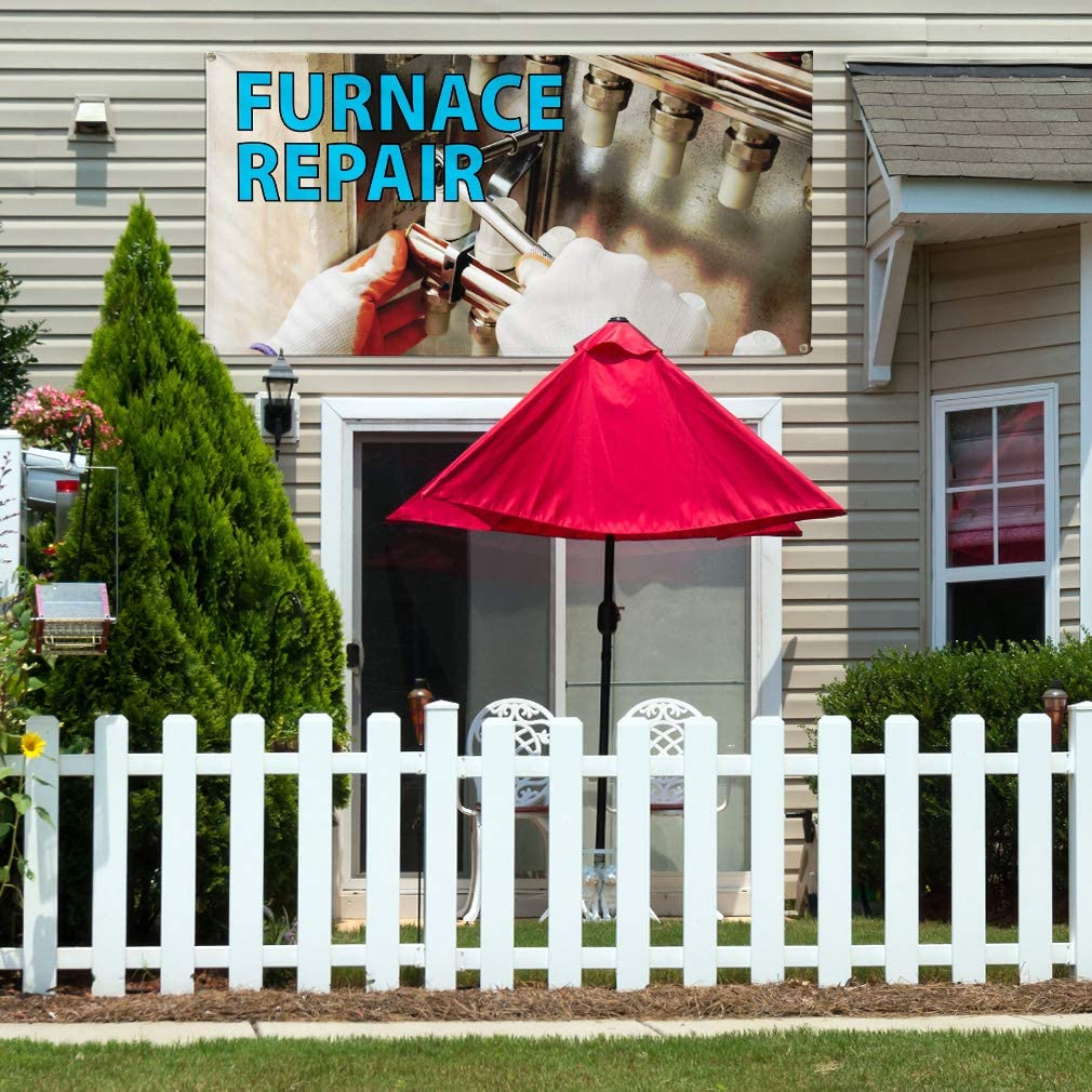 Vinyl Banner Multiple Sizes Furnace Repair A Advertising Printing Business Outdoor Weatherproof Industrial Yard Signs 8 Grommets 48x96Inches