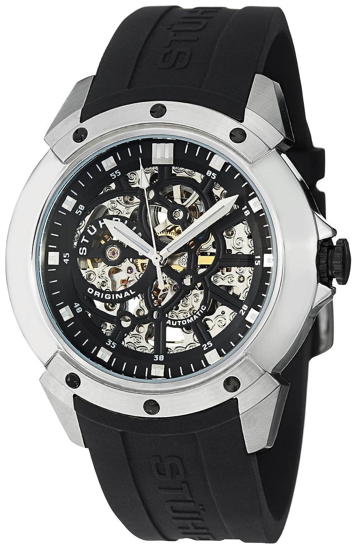 Stuhrling Herren-Armbanduhr 46mm Armband Kautschuk Schwarz GehÄuse Edelstahl Krysterna Automatik 539.33161