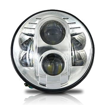 amazon com 7 inch led projector headlight dot chrome 1pc 6012 6014 rh amazon com Motorcycle Headlight Wiring Diagram Auto Headlight Wiring Diagram