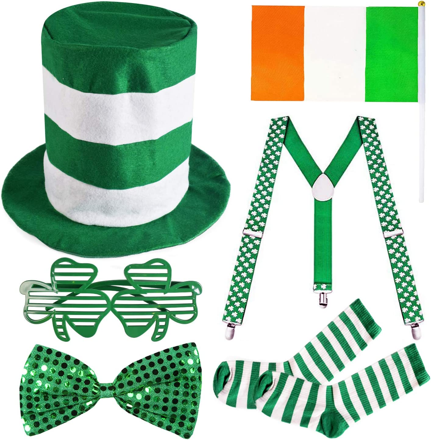 Combined Brands St Patricks Day Costume Set Light Up Necklace and Glasses Bow Tie 4 Piece Set Top Hat