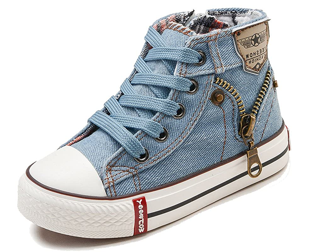 HiEase Kids Classic Denim High Top Canvas Shoes Fashion Zipper Athletic Sneakers (Baby/Toddler/Little Kid/Big Kid)