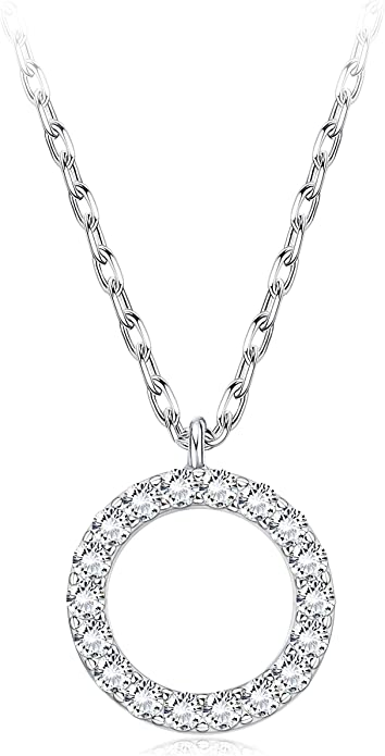 Rhodium Plated Sterling Silver White CZ Circle of Life Pendant 16 Necklace Red Gift Box Included