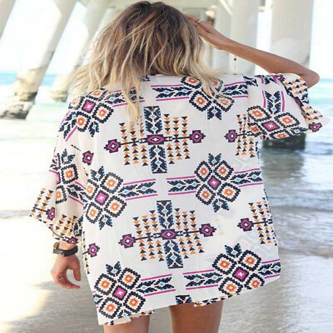 Sannysis Frauen-Geometrie Printed Chiffon-Schal Cover up Bluse