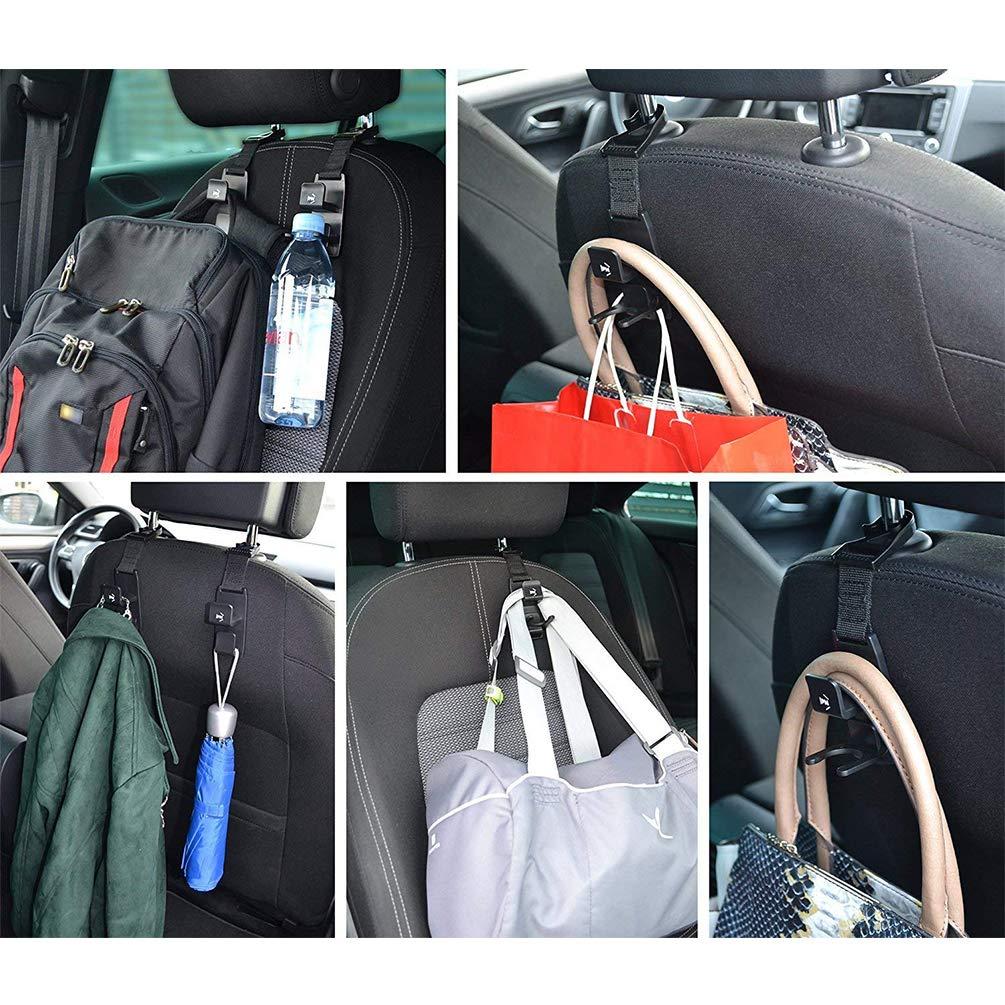 Hooks1-Black-4Pcs Headrest Hooks for Car Strong and Durable,Car Seat Back Headrest Hanger Storage for Purses,Handbags,or Grocery Bags,Universal Vehicle Car Magic Backseat Headrest Bottle Holder Taitian Direct