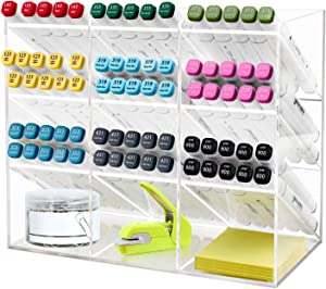 Clear Pen Organizer, Multi-Functional Pen Holder Rack with 12 Compartments for Home, Office, Art Supplies
