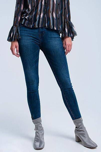 Q2 Mujer Vaqueros skinny con cremallera abajo - XS: Amazon ...