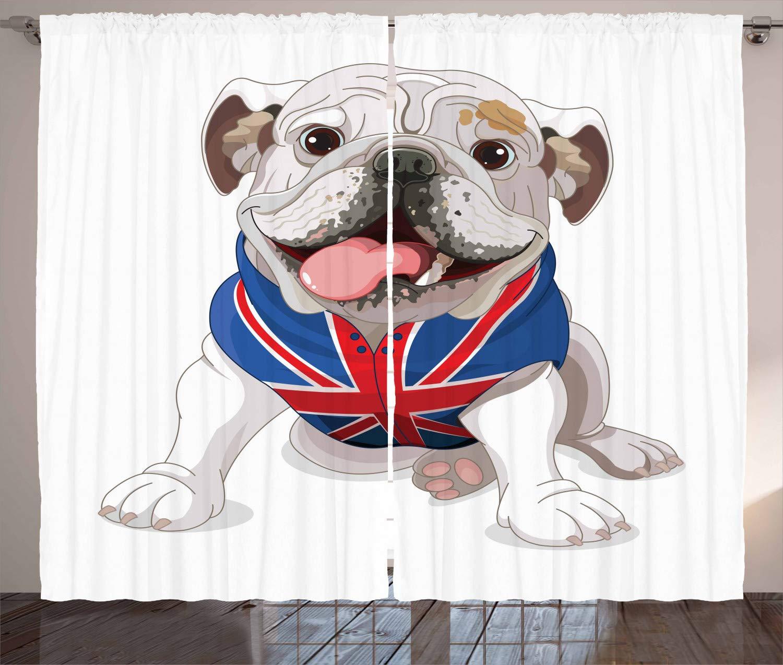 ABAKUHAUS Bulldog İnglés Cortinas, Cachorro con La Bandera, Apto ...