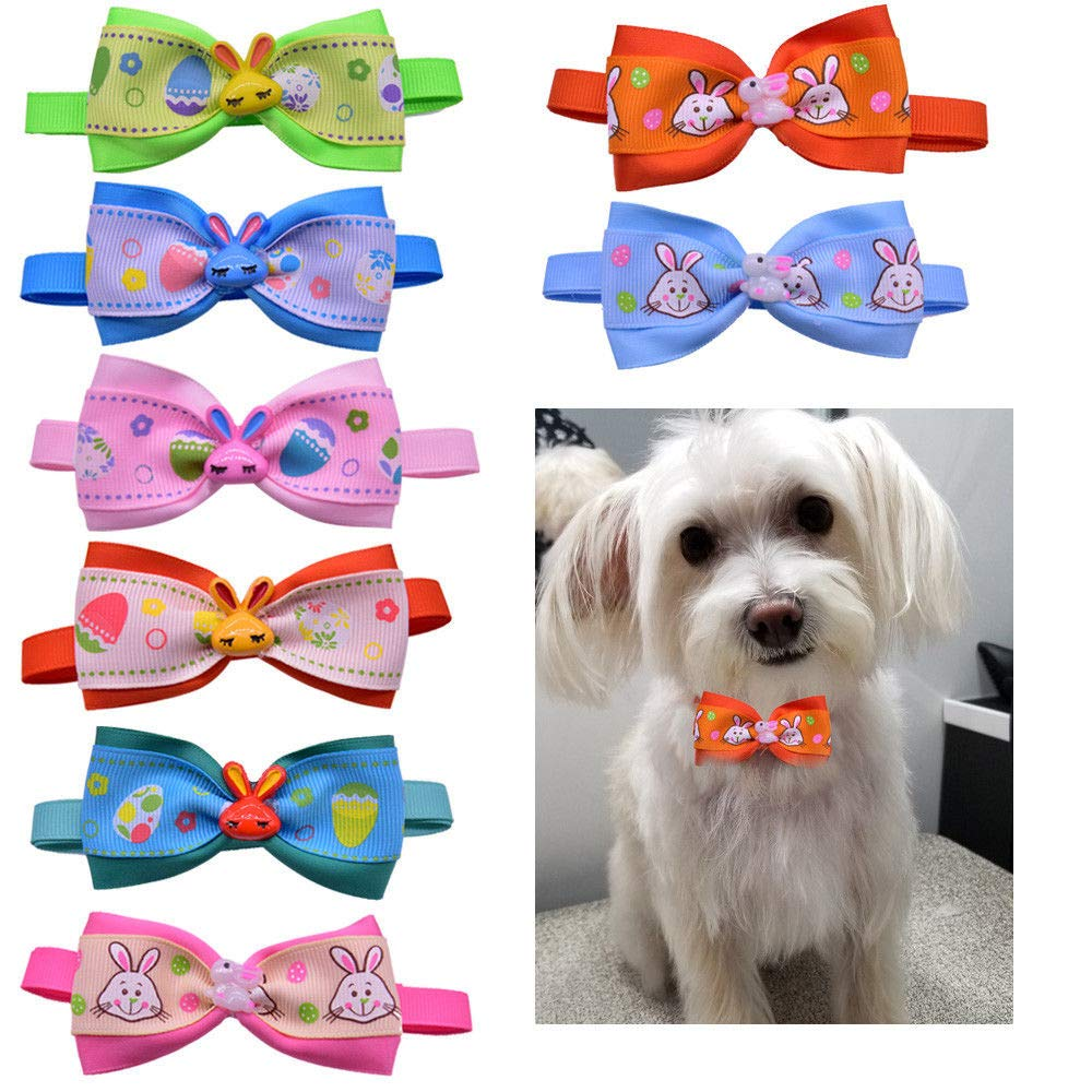 FidgetFidget Cute Pet Puppy Dog Cat Bow Ties with Easter Eggs&Rabbit Resin Dog Grooming Ties Mixed Color 50pcs by FidgetFidget