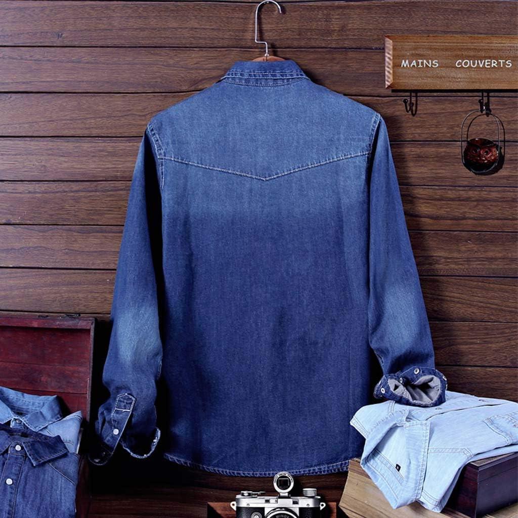 Homebaby Camicia di Jeans Uomo Elegante Casual in Cotone Ragazzo Slim Fit Magliette Maniche Lunghe Leggera Estiva Formale Tuta Camicie con Polsini Francesi Primavera Leggere Sweatshirt