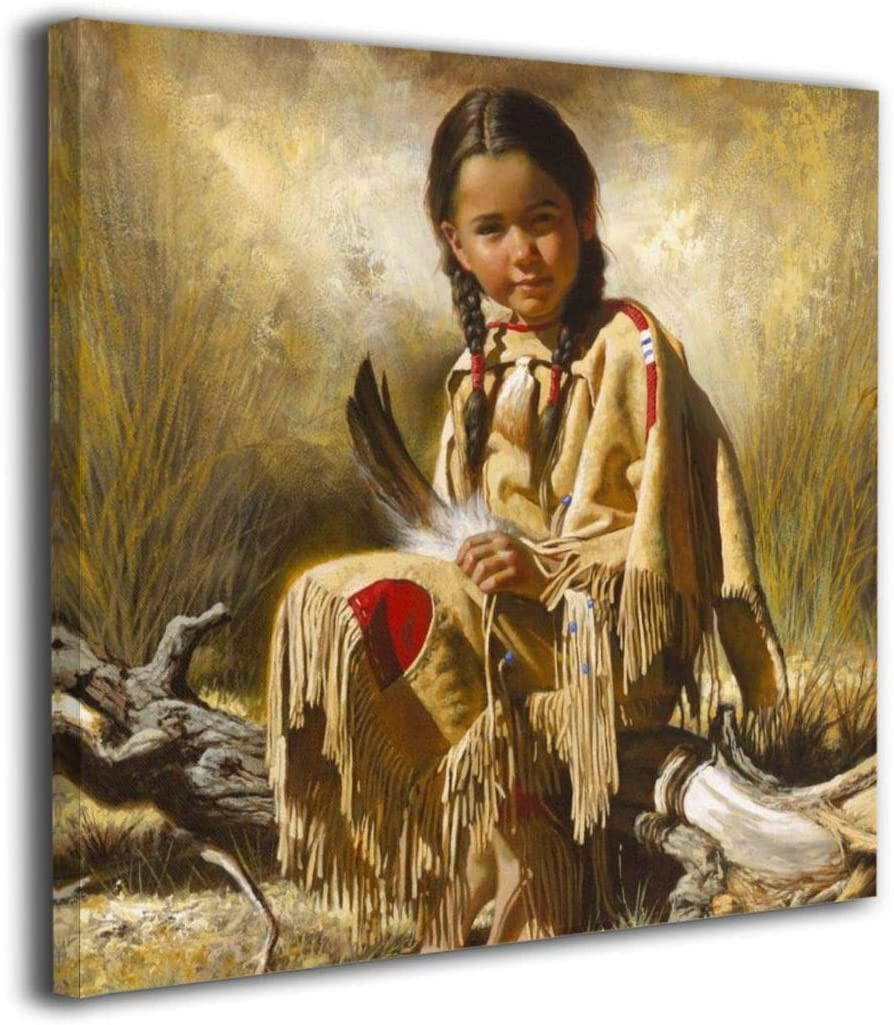 Amazon Com Dizzy K Indian Native American Girl Smiling Canvas Wall Art Decor For Living Room Bedroom Artwork Home Decorations Paintings 16 X16 Posters Prints