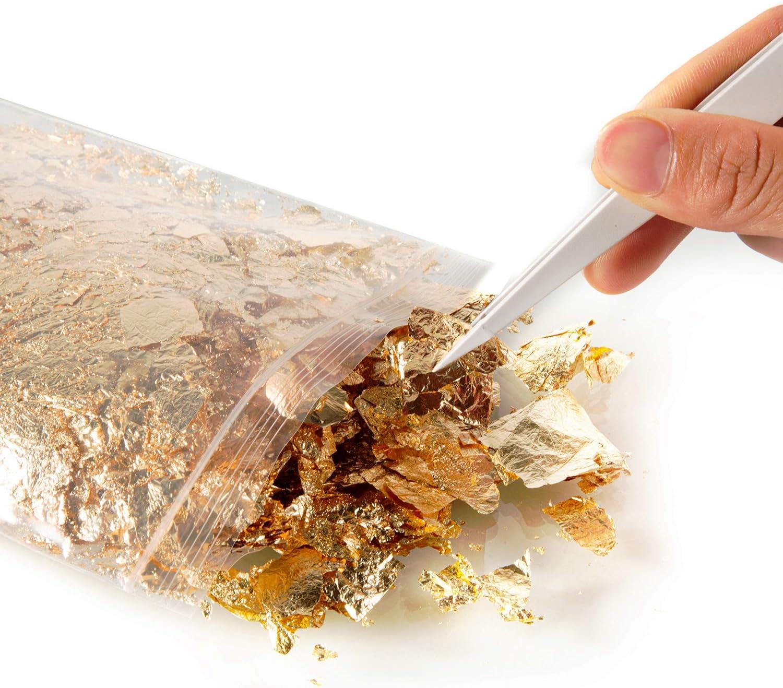 Deoot Gold Leaf Flake Imitation Gold Leaf Flake with 2 PCS Plastic Tweezer