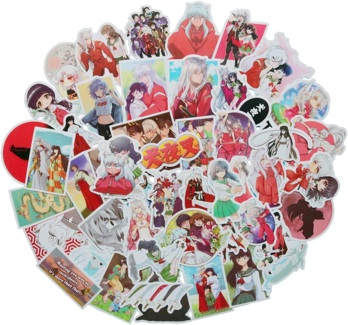 50PCS Inuyasha Japanese Anime Stickers Lovely Boy and Girl Sticker Laptop Computer Bedroom Wardrobe Car Skateboard Motorcycle Bicycle Mobile Phone Luggage Guitar DIY Decal (Inuyasha)