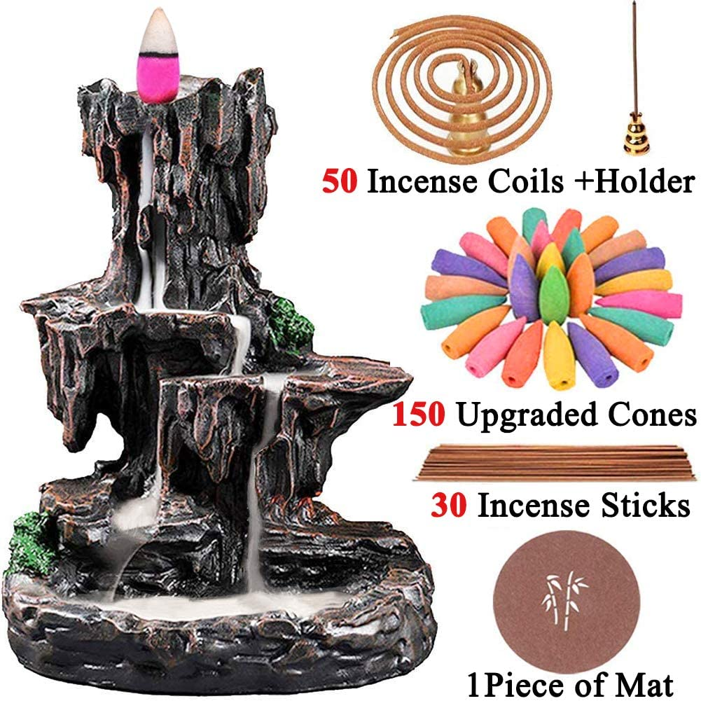 TuoFang Incense Burner, Backflow Waterfall Incense Holder Mountain Tower Aromatherapy Ornament Gifts for Home Office with 150 Backflow Incense Cones, 30 Incense Sticks, 50 Incense Coils