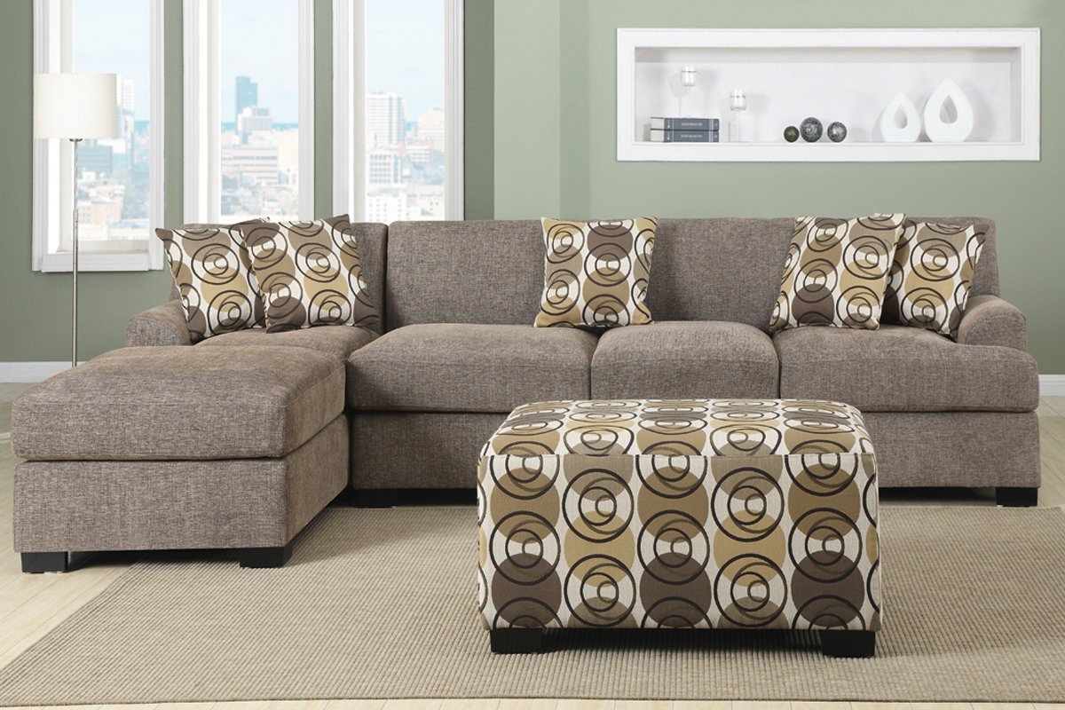 Amazon.com 3 pieces Faux Linen Sectional Sofa with Ottoman (Slate) Kitchen u0026 Dining : sectional chaise sofas - Sectionals, Sofas & Couches