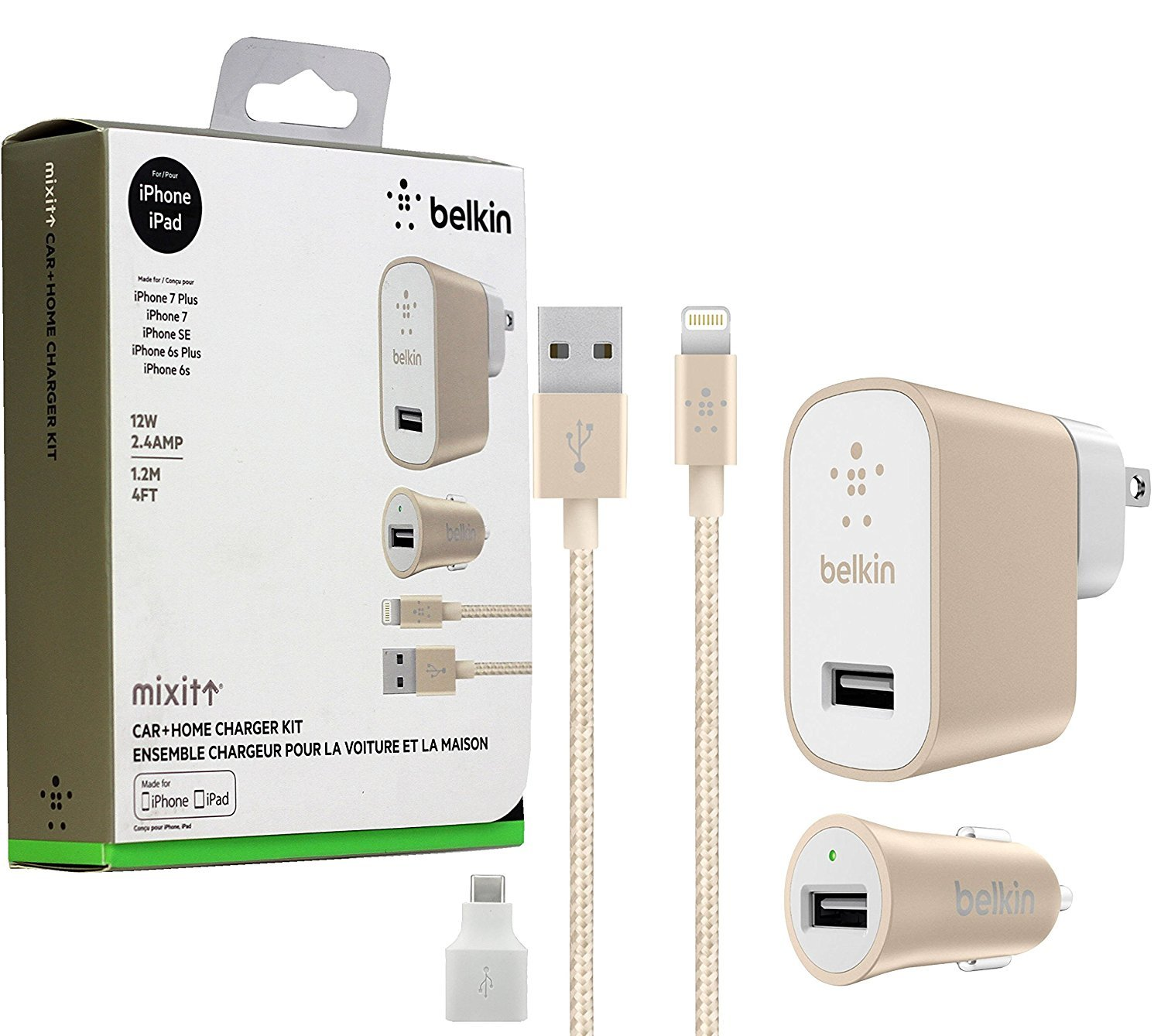 Belkin Metallic Mixit -12W 2.4Amp Fast - Home & Car Lightning Charger Gold White Kit -(Retail Packing) for iOS iPhone 8/+/X iPad Pro
