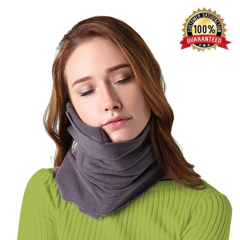B-Comb Travel Pillow-Travel Neck PillowScarf Portable Soft Neck Support Perfect Pillow for Any Sitting PositionAirplane Sleep Pillow - Plane Travel Accessory - Memory Foam- Adjustable