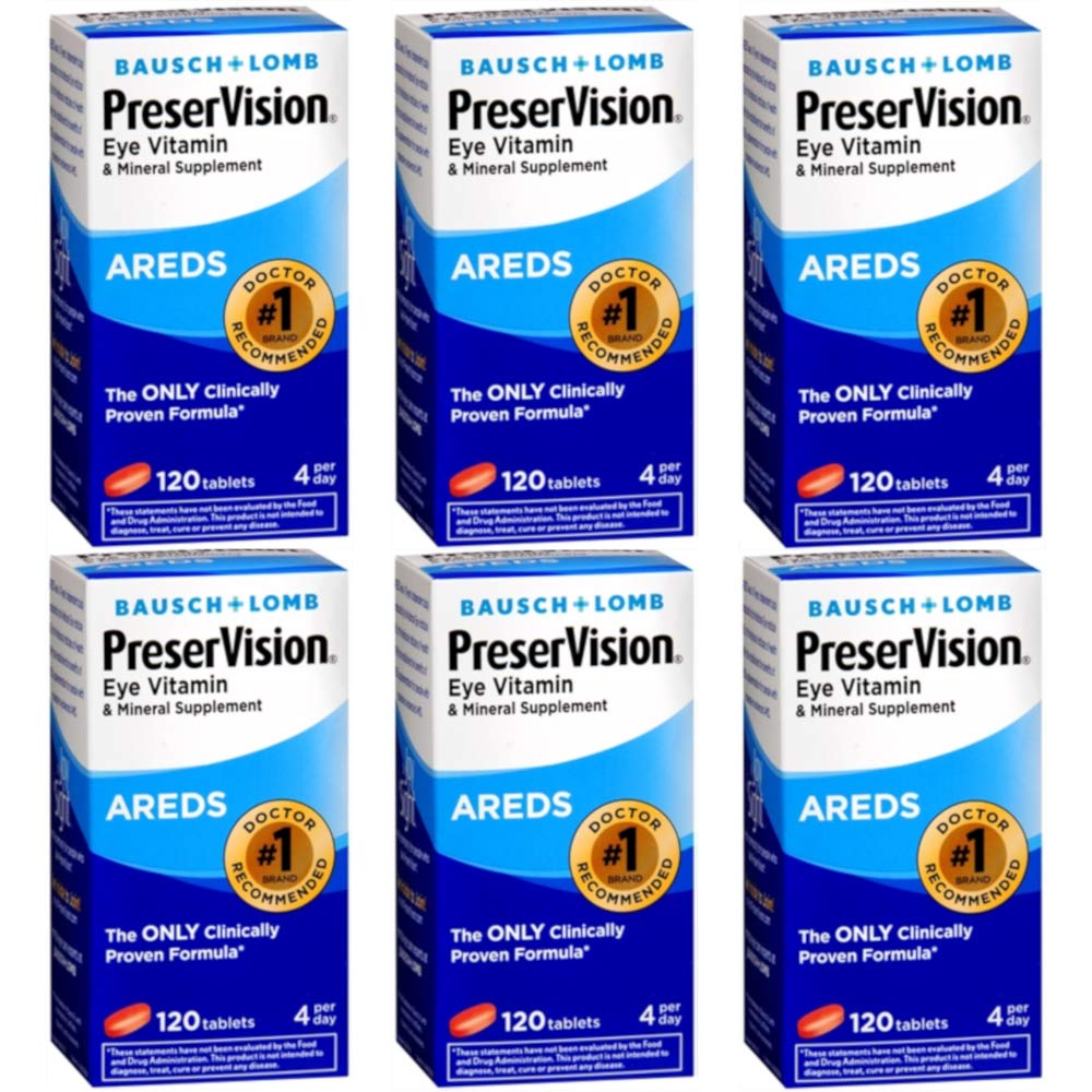 Bausch & Lomb Ocuvite PreserVision Tablets 120 Tablets (Pack of 6)