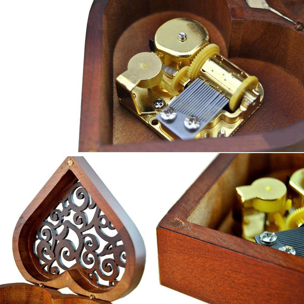 WESTONETEK Heart Shape Vintage Wood Carved Mechanism Musical Box Wind Up Music Box Gift For Christmas/Birthday/Valentine's day, Melody For Elise by WESTONETEK (Image #7)
