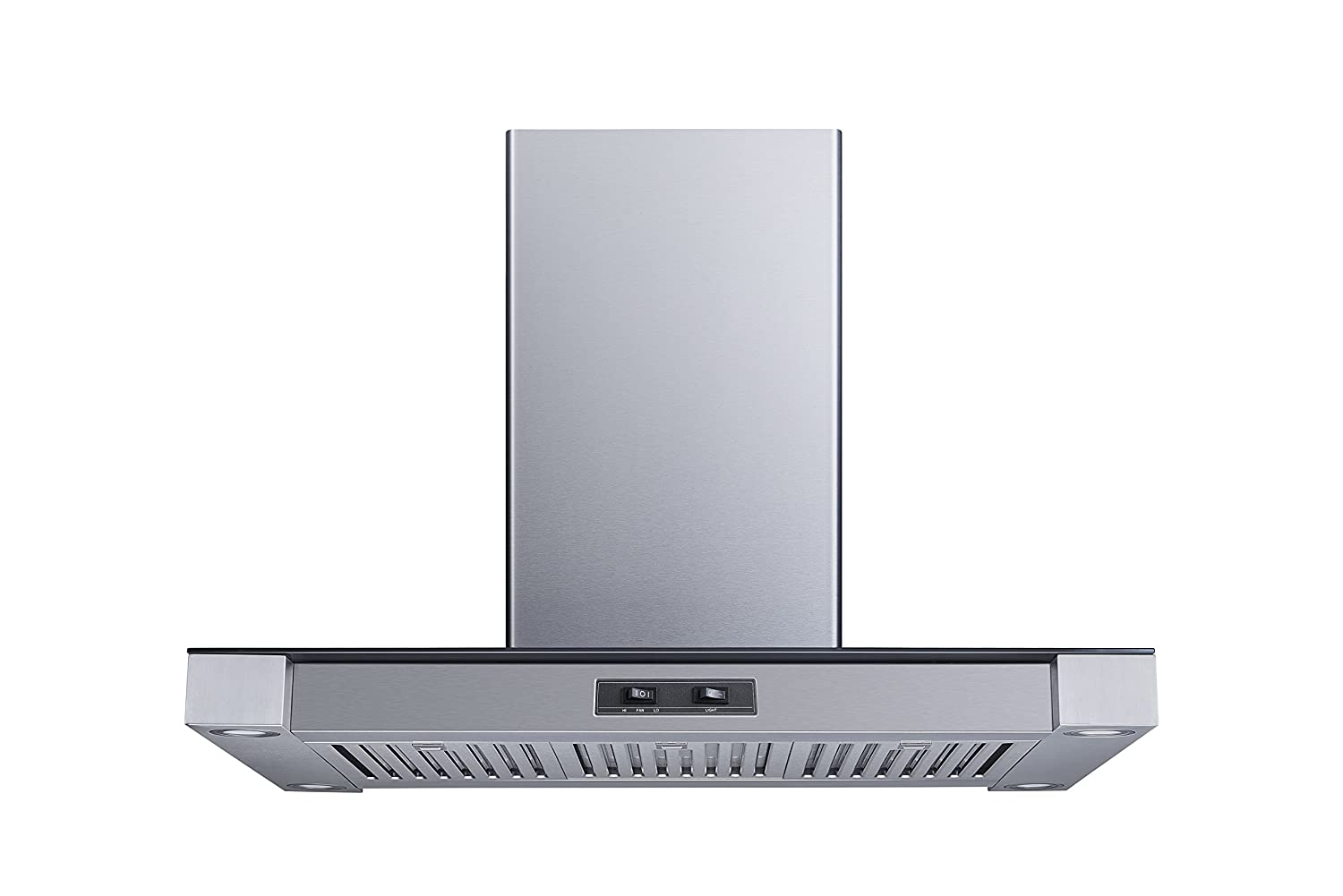 "36"" 400 CFM Convertible Island Mount Range Hood with Stainless Steel Baffle Filters and 4 Ultra bright Soft White LED Lights"
