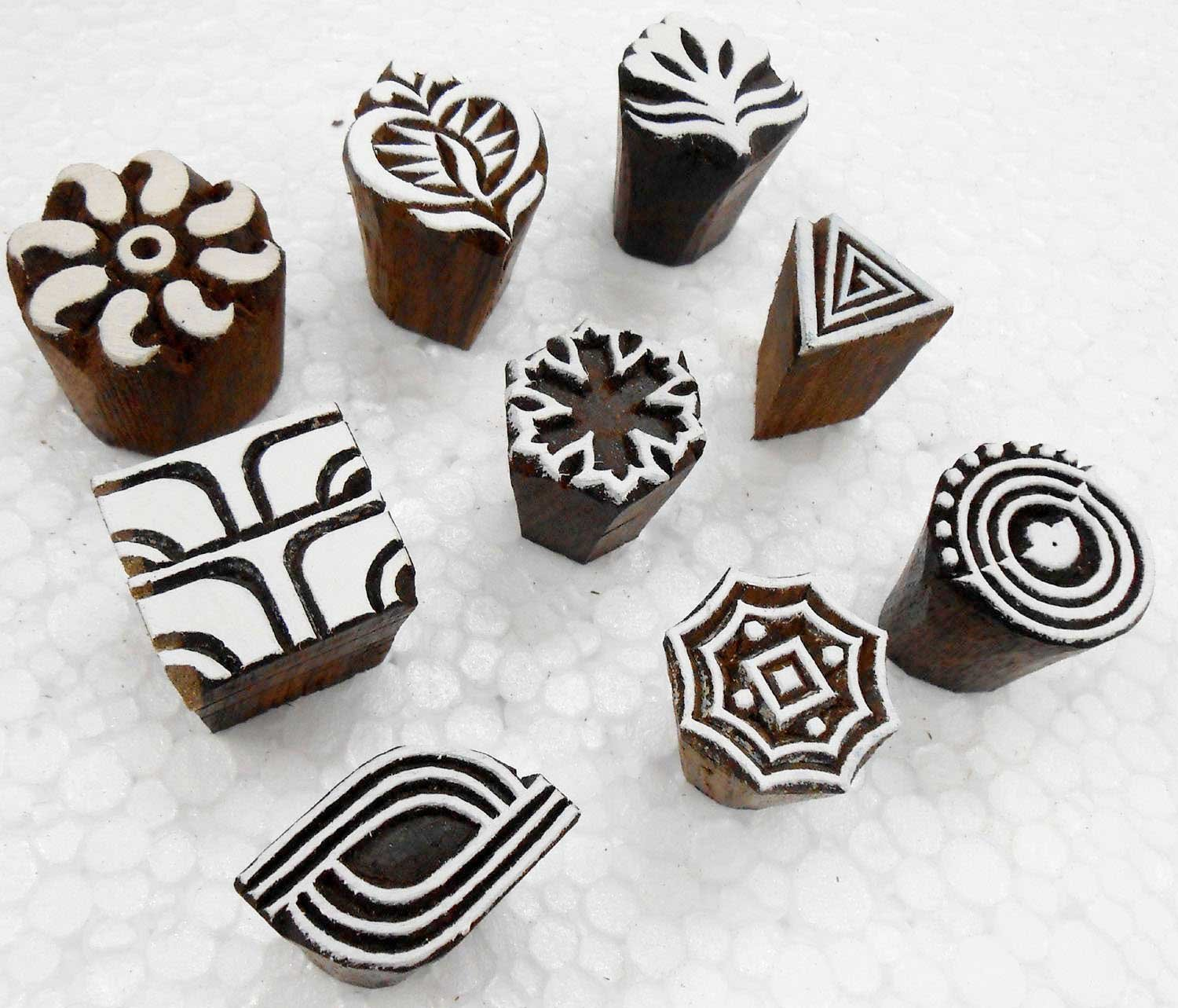 Wholesale Lot of 12 Exotic Small Wooden Block Stamps for Textile Printing// Henna Tattoo// Scrapbooking// Designing Saree Border