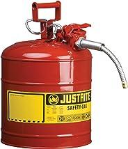 Justrite 7250120 AccuFlow 5 galones, 11.75 pulgadas de diámetro exterior x 17.50 pulgadas de alto, acero galvanizado tipo II, lata de seguridad roja con boquilla flexible de 5/8 pulgadas