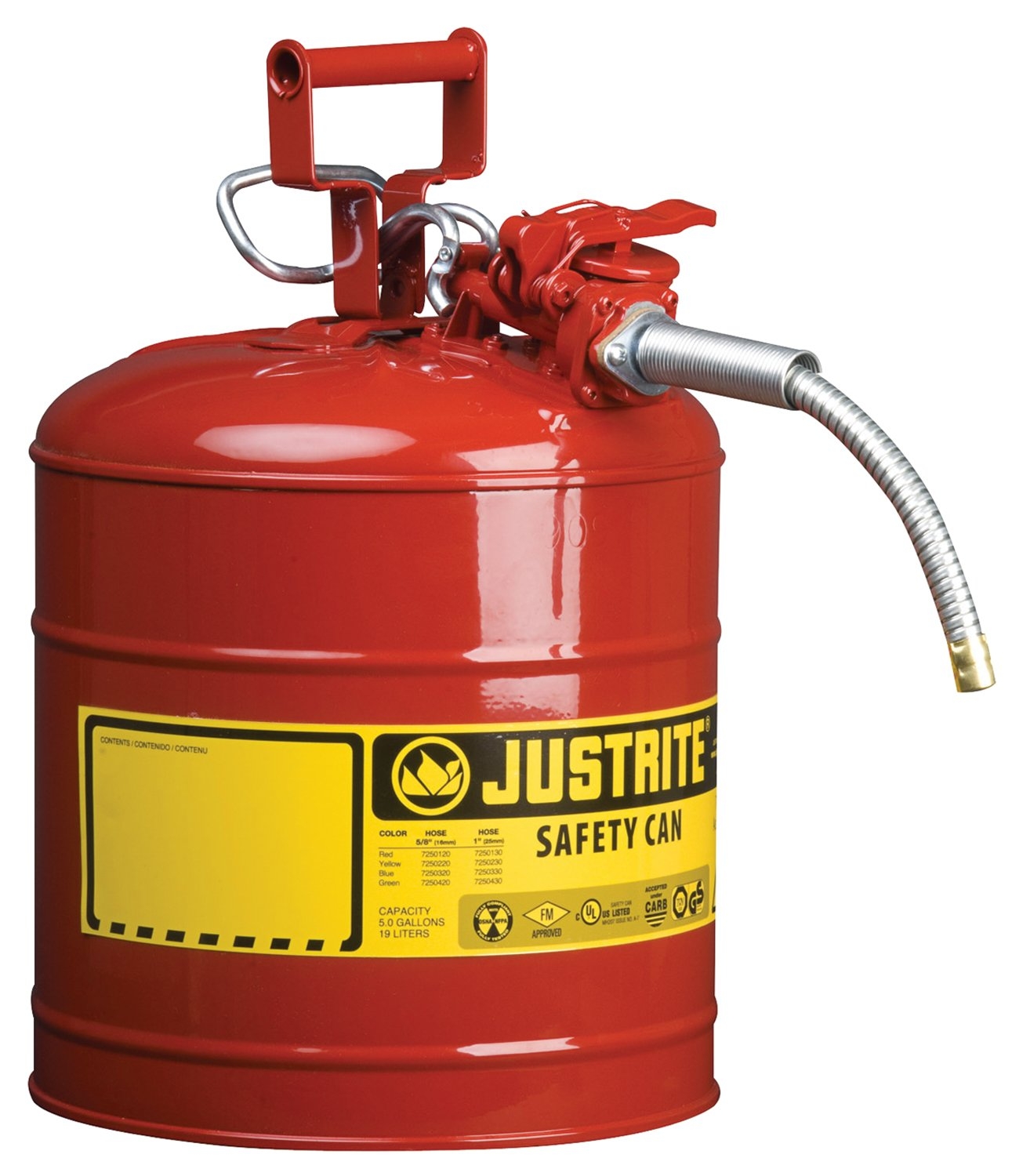 "Justrite 7250120 AccuFlow 5 Gallon, 11.75"" OD x 17.50"" H Galvanized Steel Type II Red Safety Can With 5/8"" Flexible Spout"