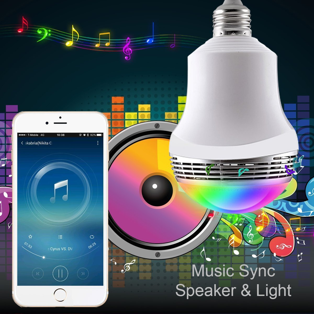 XPLUS Smart LED Bulb Speaker, 2rd Wireless Bluetooth 4.0 Speaker Music LED Playbulb E26/E27 Dimmable RGB LED Light Bulb for Party Decoration Lighting Free APP for iOS iPhone Android Smartphone 6 Watts