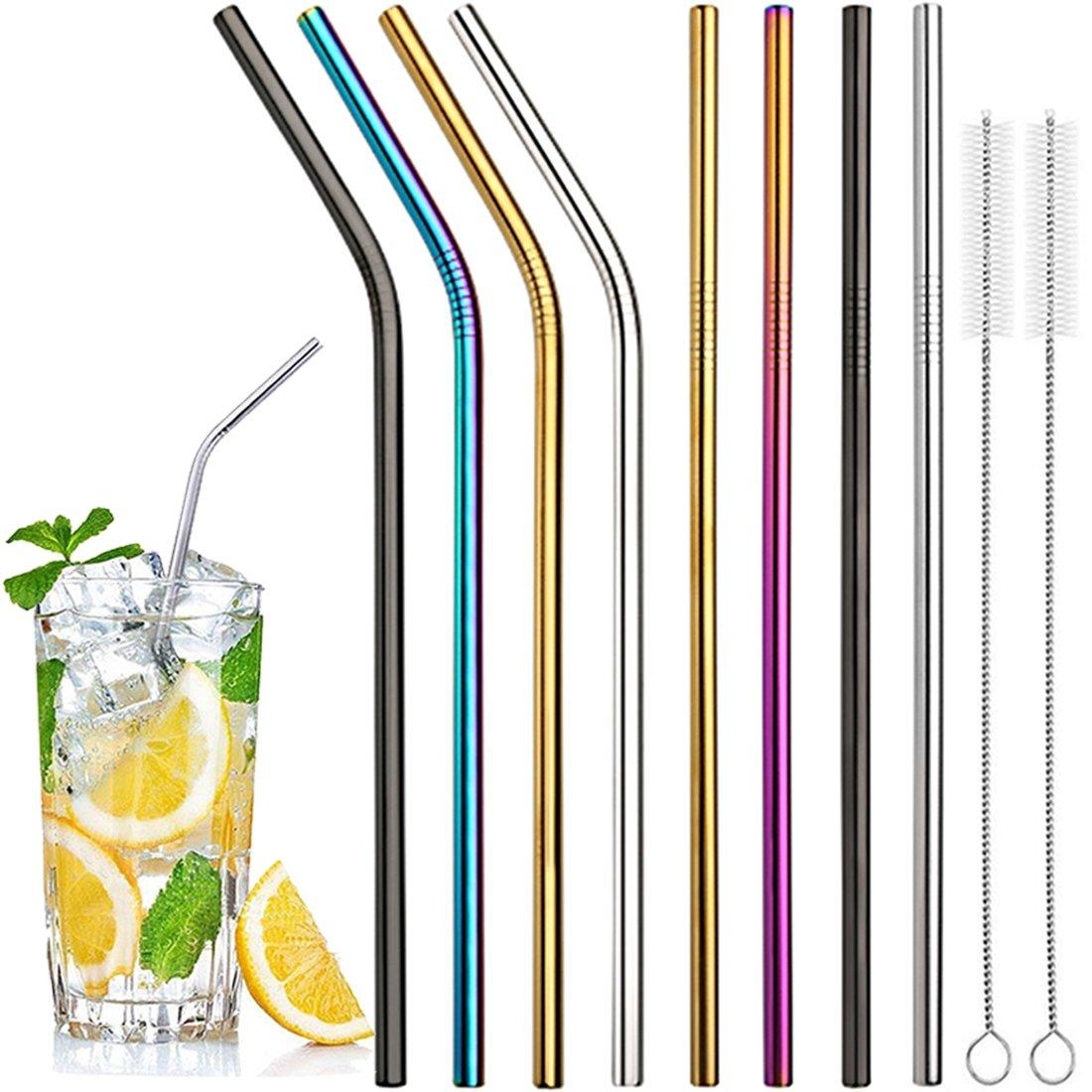 3e759cd69ab Stainless Steel Drinking Straws, Reusable Metal Straws 10.5 inch Long  Colorful for 20 30 OZ Yeti Tumbler, RTIC, Tervis, Ozark Trail, Starbucks,  Mason ...