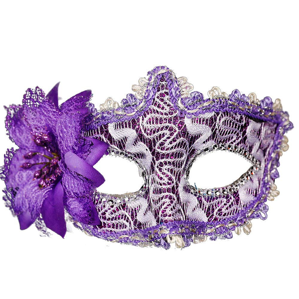 Laser-Cut Metal Black Venetian Women's Masquerade Mask Tubular Flower Halloween Party Mardi Lace Mask (Purple)