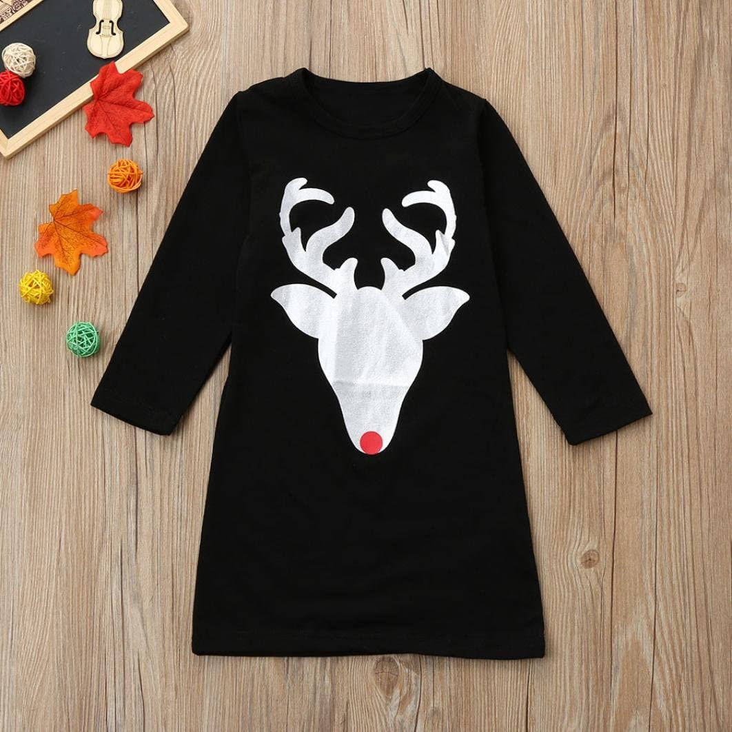 Sunward Parent-Child Christmas Deer Shirt Dress Mommy and Me Family Clothes Matching Dress