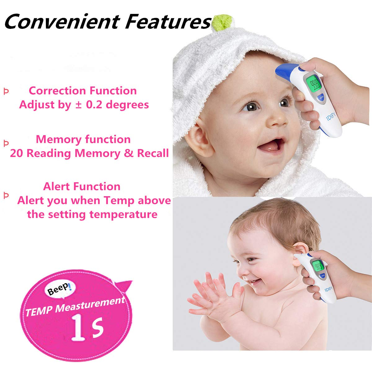 Amazon.com: Baby Thermometer Forehead and Ear Termometro Digital Thermometer for Fever Accurate Professional Medical Body Fever Termometro for Infant, ...