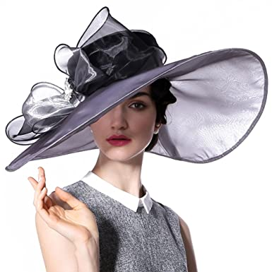 3360019c52086 June s Young Women Hat Summer Hat for Wedding Hats Wide Brim (Silver  black  hat