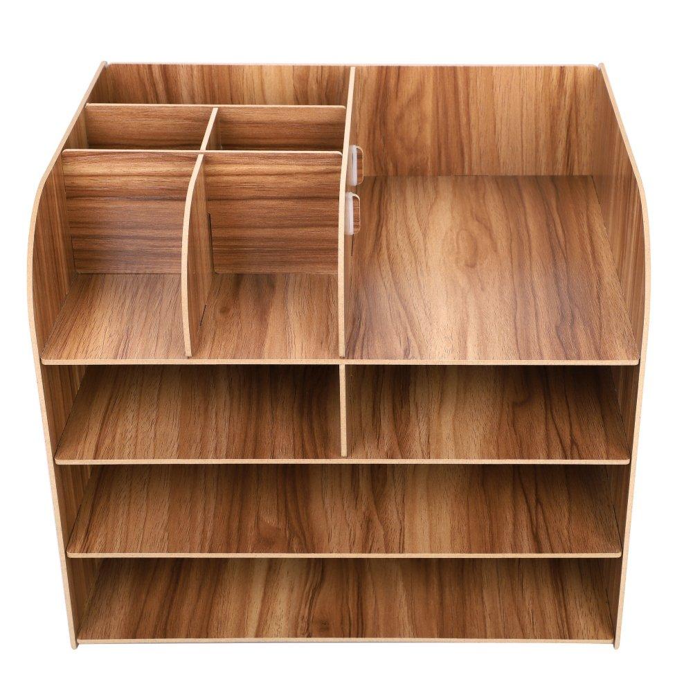 Organizador de escritorio de madera 4 cajones. compartimentos, estante con cajones. 4 para guardar libros, periódicos, revistas, bolígrafos, lápices y hojas de papel A4. , color rojo 693095