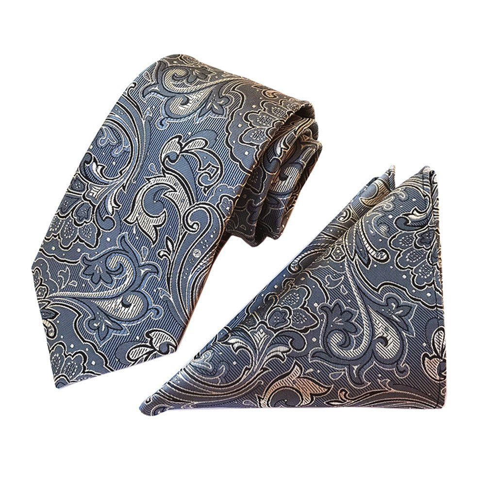 L04BABY Mens Grey Paisley Jacquard Woven Formal Suit Tie Necktie+Pocket Square