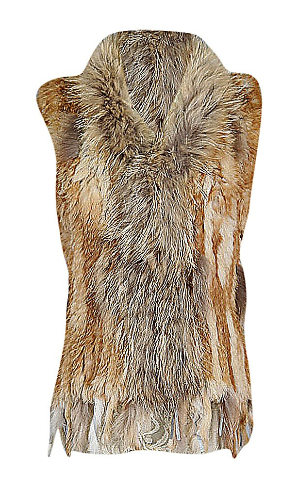 US&R Women Raggy Eclectic Style Real Racoon Rabbit Fur Sleeveless Waistcoat, Multi S,Manufacturer(L)