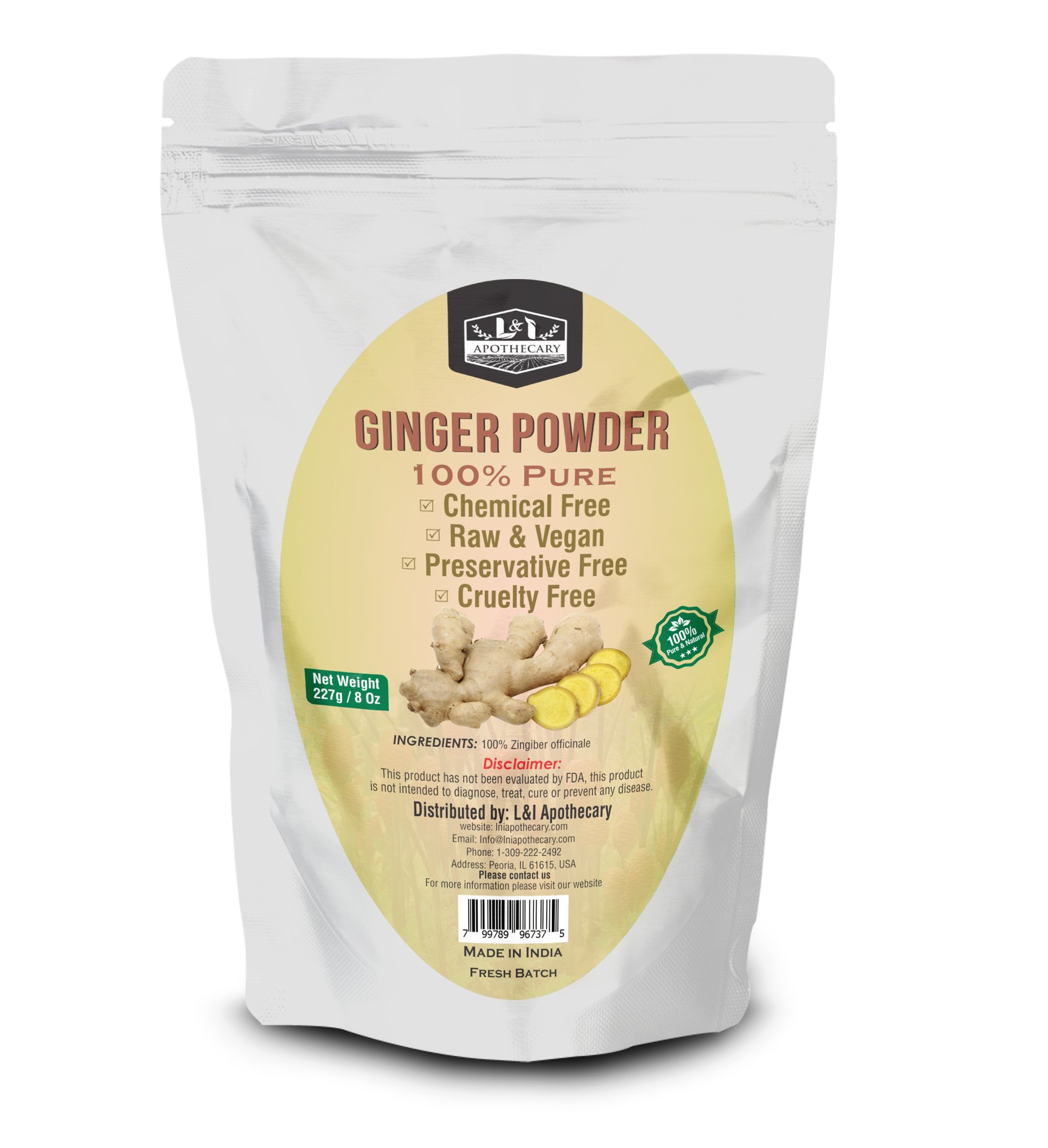 L&I Apothecary 227 Grams / 8 Oz Ginger/Zingiber officinale Powder, 100% Pure & natural. Food Grade Herb for supplements, hair care & skin care