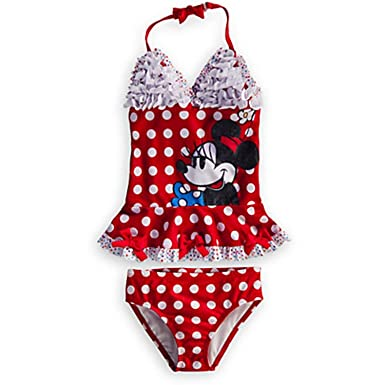 0f02591020aca Disney Store Girls' Deluxe Minnie Mouse Tankini 2pc Swimsuit -2-3 Red