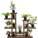 Giantex Flower Rack Wood Plant Stand 7 Wood Shelves 13 Pots Bonsai Display Shelf Indoor Outdoor Yard Garden Patio Balcony Liv