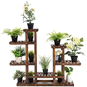 Giantex Flower Rack Wood Plant Stand 7 Wood Shelves 13 Pots Bonsai Display Shelf Indoor Outdoor Yard Garden Patio Balcony Living Room Multifunctional Storage Rack Bookshelf W/Hollow-Out Rack