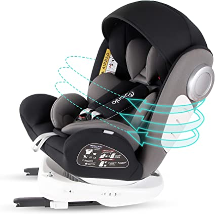 Bonio Baby Car Seat 360 Rotating Group 0+/1/2/3 (0-36 kg) with ISOFIX SIPS ECE R44/04 (Black)