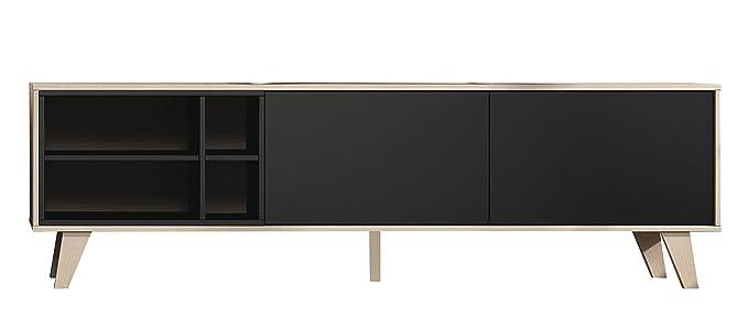 gnrique zaiken meuble tv 180 cm gris anthracite dcor chene amazonfr cuisine maison
