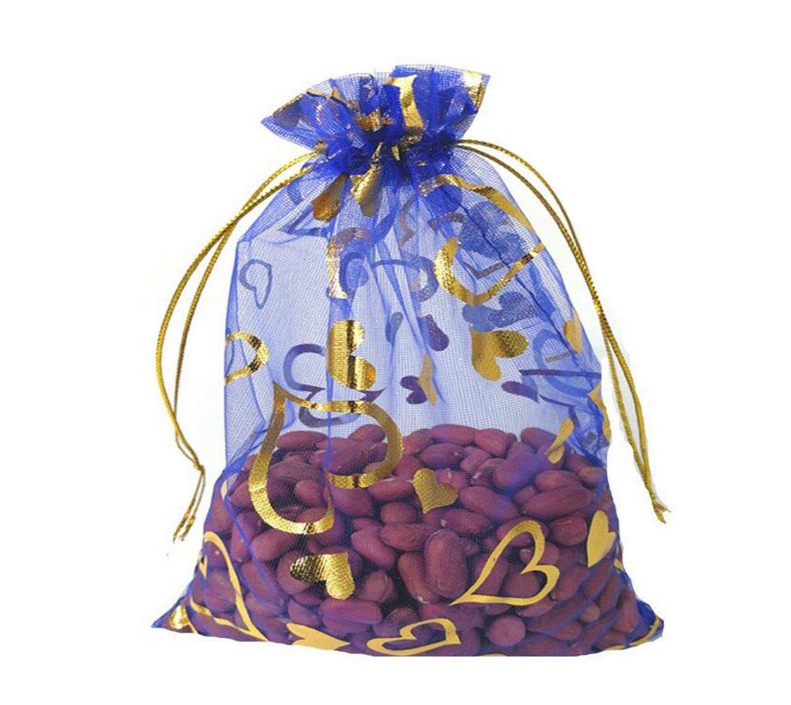 Upstore 100PCS 5'' x 7'' Herz Gedruckt Organza Kordelzug Taschen Geschenk Verpackung Beutel Beispiel Display Tü ll Taschen Wrapper (Gold)