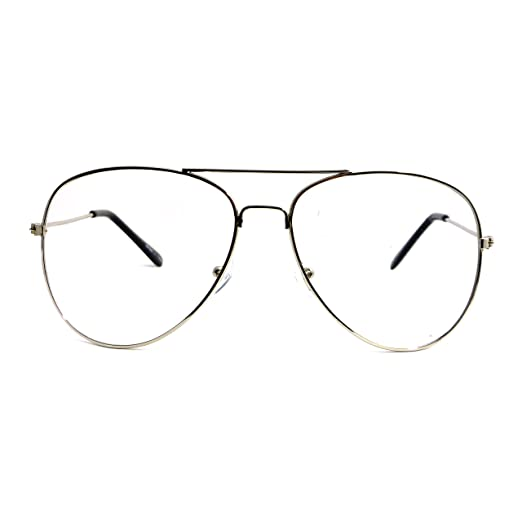 03ab361d943 Image Unavailable. Image not available for. Color  VINTAGE Aviator Retro  Metal Square Frame Clear Lens Eye Glasses SILVER