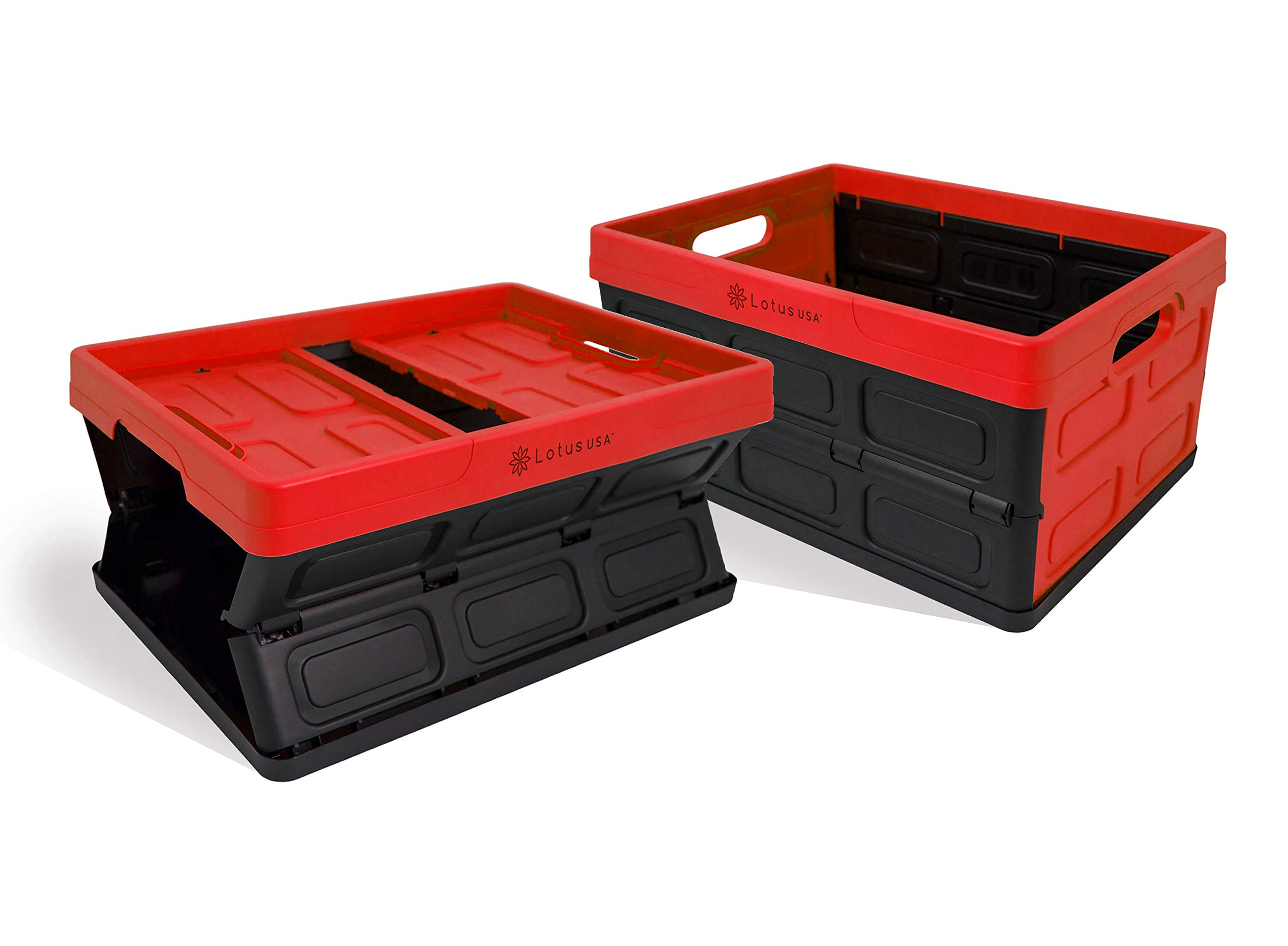Lotus USA Fold-It Foldable Stackable Hardside Storage Crate, 33 Quart (Red, 2-Pack) by Fold-It