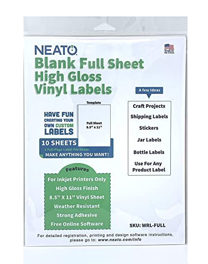 Neato Blank White Full Sheet Printable Labels - Water Resistant Glossy  Vinyl Printable Sticker Paper - 10 Sheets - Online Design Label Studio  Included