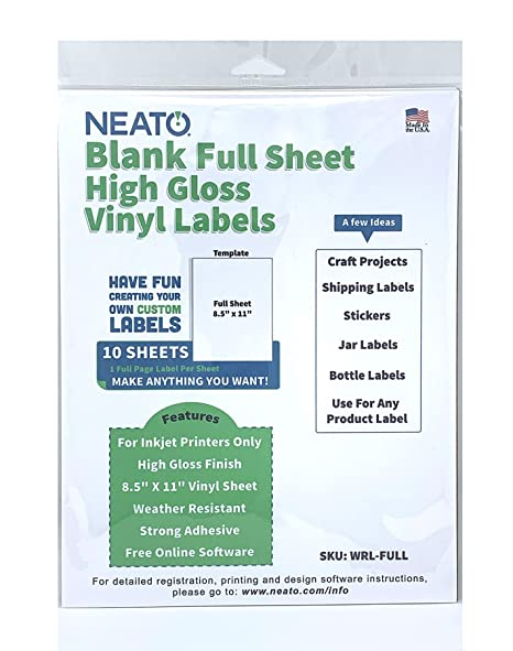 photo relating to Printable Label Sheets titled Neato Blank White Comprehensive Sheet Printable Labels - Drinking water Resistant Shiny Vinyl Printable Sticker Paper - 10 Sheets - On the internet Design and style Label Studio Incorporated
