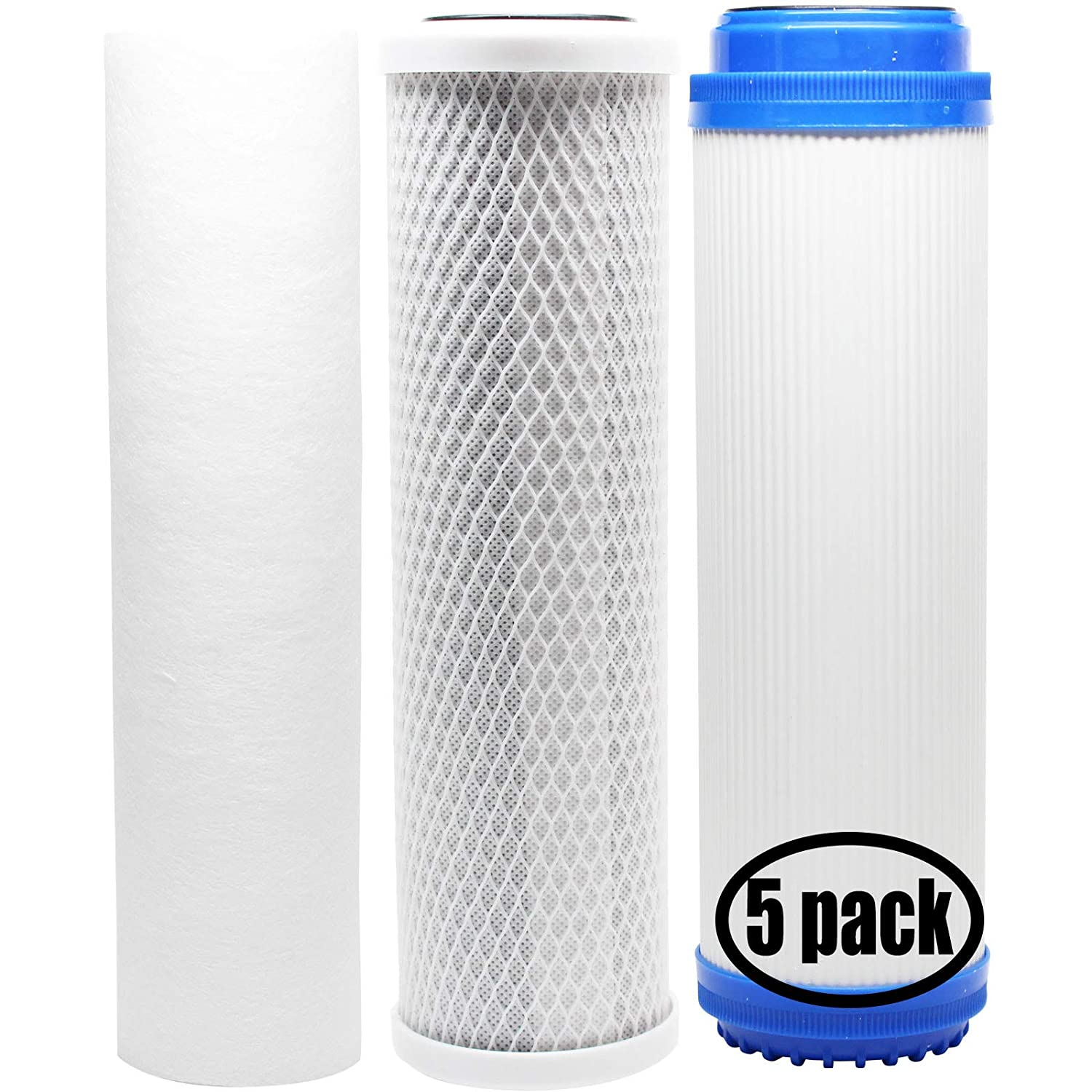 Sediment Filter & GAC Filter   inkl 5er Pack Ersatz Filter Kit für Pentek 158120 RO System   Denali Pure Marke Carbon Block Filter